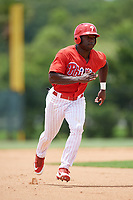 GCL Phillies East right fielder James Smith (22) runs the bases during a game against the GCL Blue Jays on August 10, 2018 at Carpenter Complex in Clearwater, Florida.  GCL Blue Jays defeated GCL Phillies East 8-3.  (Mike Janes/Four Seam Images)