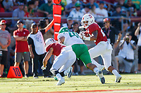 STANFORD, CA - SEPTEMBER 21: Austin Jones #20 of the Stanford Cardinal attempts to avoid a tackle by Isaac Slade-Matautia #41 of the Oregon Ducks during a game between University of Oregon and Stanford Football at Stanford Stadium on September 21, 2019 in Stanford, California.