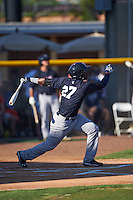 Tampa Yankees third baseman Miguel Andujar (27) hits a home run during a game against the Lakeland Flying Tigers on April 7, 2016 at Henley Field in Lakeland, Florida.  Tampa defeated Lakeland 9-2.  (Mike Janes/Four Seam Images)