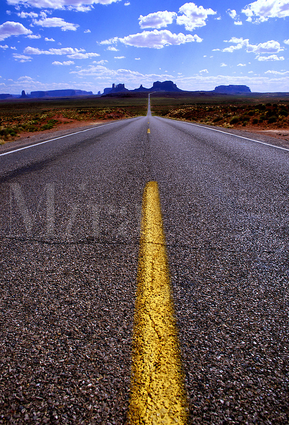 distorted view of yellow stripe on road to Navajo Nation, New Mexico. New Mexico, Navajo Nation.