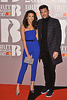 Michelle Keegan, Mark Wright<br /> The Brit Awards at the o2 Arena, Greenwich, London, England on February 22, 2017.<br /> CAP/PL<br /> &copy;Phil Loftus/Capital Pictures /MediaPunch ***NORTH AND SOUTH AMERICAS ONLY***