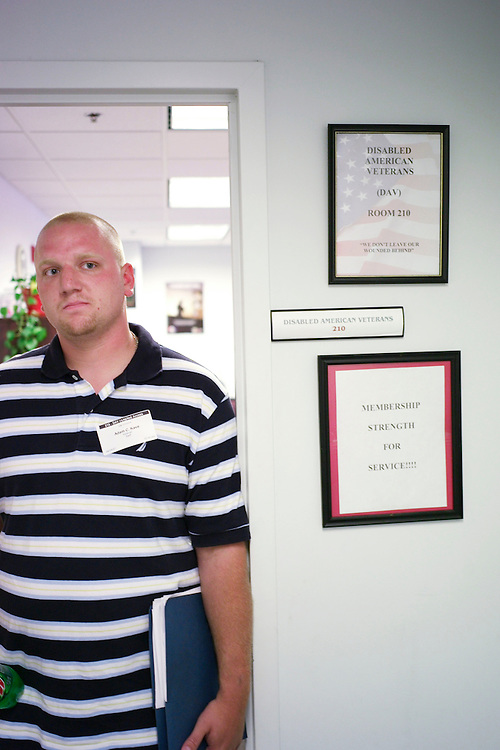04/24/07--Adam Kave, 23, recently discharded from the Air Force, and served in Iraq, Kuwait and Uzbekistan, during a reporter's interview at the VA regional office in Washington. He was at the office to file a claim regarding a personality disorder. Congressional Quarterly by Photo Scott J. Ferrell