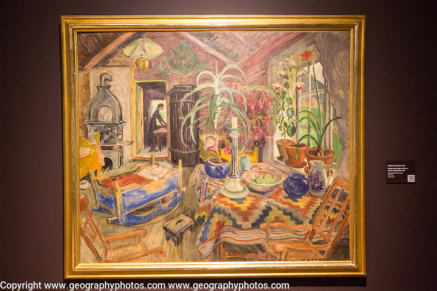 'Interior with Cradle' 1920s oil painting on canvas by Nikolai Astrup 1880-1928, Kode 4 art gallery Bergen, Norway