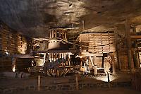 Europe/Voïvodie de Petite-Pologne/Environs de Cracovie/Wieliczka: Mine de Sel Wieliczka inscrite au patrimoine mondial UNESCO - La Chambre Casimir-le-Grand et son manège de type saxon XVIII e qui servait à remonter le sel