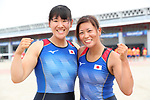 (L-R)  Shiho Yonekawa &  Sayaka Chujo (JPN), <br /> AUGUST 23, 2018 - Rowing : <br /> Women's Double Sculls Final <br /> at Jakabaring Sport Center Lake <br /> during the 2018 Jakarta Palembang Asian Games <br /> in Palembang, Indonesia. <br /> (Photo by Yohei Osada/AFLO SPORT)