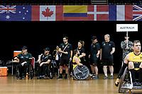 Josh Nicholson (AUS) vs GB<br /> Australian Wheelchair Rugby Team<br /> 2018 IWRF WheelChair Rugby <br /> World Championship / Semi Finals<br /> Sydney  NSW Australia<br /> Thursday 9th August 2018<br /> © Sport the library / Jeff Crow / APC