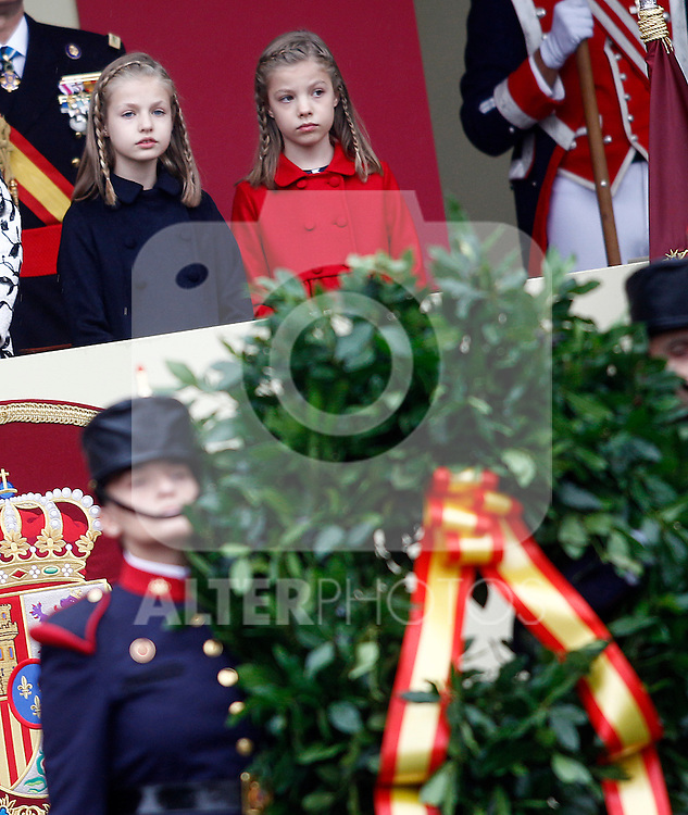 Princess Leonor of Spain (l) and Princess Sofia of Spain attend the National Day military parade. October 12 ,2016. (ALTERPHOTOS/Acero)