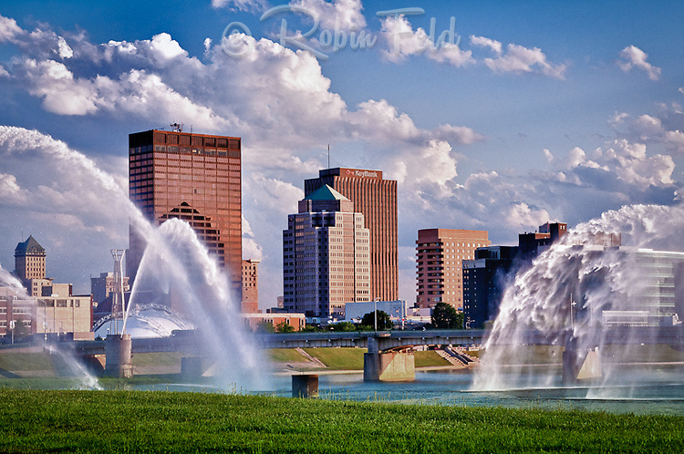Dayton Ohio skyline with fountains in foreground. Photographed from Deeds Point