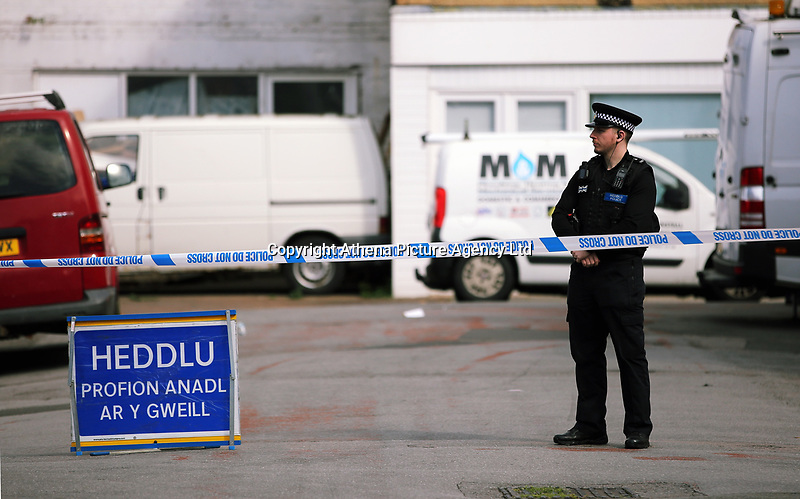 Pictured: A police cordon at Jeffrey Street, Newport, south Wales, UK. Wednesday 20 September 2017<br /> Re: Two men have been arrested in south Wales over Friday's terror attack on a London Underground train, bringing the total number held to five.<br /> Two men, one 48 and the other 30 were detained under the Terrorism Act in the early hours, after a search at an address in Newport.<br /> Police are still searching there, and at a second address in Newport.<br /> Thirty people were injured when a homemade bomb partially exploded on a rush-hour Tube train at Parsons Green in south-west London.