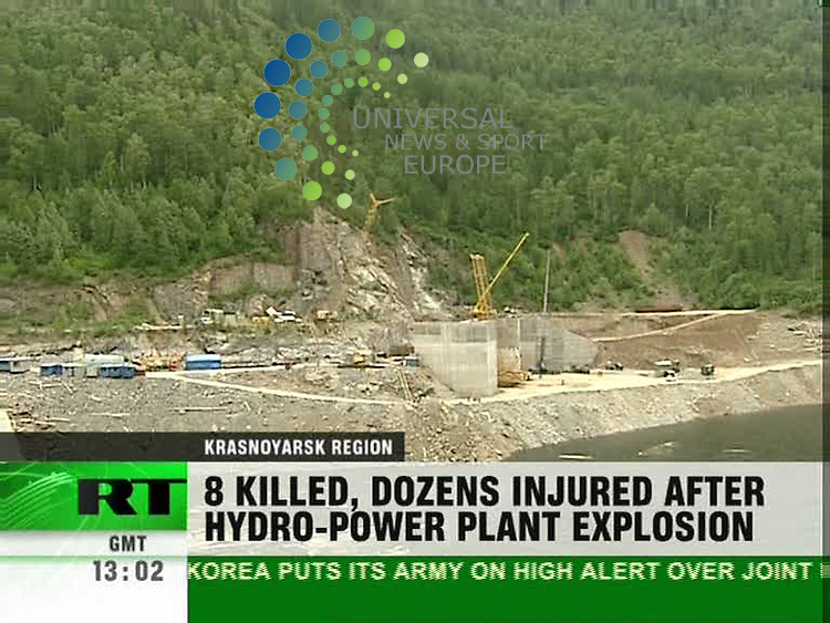 At least 54 people are missing after an explosion at Russia's largest hydro-electric power station killed eight workers, investigators say. The accident at the Sayano-Shushenskaya power station in Siberia happened when an oil-filled transformer exploded in a turbine hall, they added. This damaged the wall and ceiling of the turbine hall which then flooded. .Picture: 17 August 2009: Universal News and Sport (Scotland)/RT Moscow.All pictures must be credited to  www.universalnewsandsport.com.(0ffice) 0844 884 51 22.. (Universal News does not claim any Copyright or License in the attached material. Any downloading fee charged by Universal News and Sport is for Universal News services only. We are advised that videograbs should not be used more than 48 hours after the time of original transmission, without the consent of the copyright holder). .