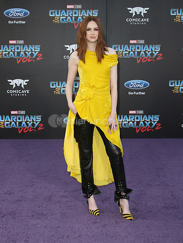 "HOLLYWOOD, CA - April 19: Karen Gillan, At Premiere Of Disney And Marvel's ""Guardians Of The Galaxy Vol. 2"" At The Dolby Theatre  In California on April 19, 2017. Credit: FS/MediaPunch"