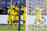 Wes Thomas of Oxford United (9) celebrates after he scores his team's second goal of the game to make the score 1-2 during the Sky Bet League 1 match between Peterborough and Oxford United at the ABAX Stadium, London Road, Peterborough, England on 30 September 2017. Photo by David Horn.