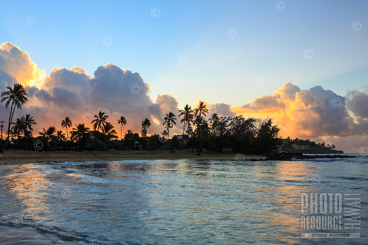 Sunrise at Po'ipu Beach Park on Kaua'i's southern shore.