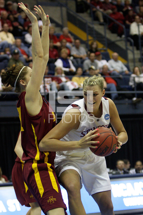 BERKELEY, CA - MARCH 30: Jayne Appel posts up during Stanford's 74-53 win against the Iowa State Cyclones on March 30, 2009 at Haas Pavilion in Berkeley, California.