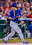 6 October 2017: Chicago Cubs outfielder Ben Zobrist in action during the first game of the NLDS against the Washington Nationals at Nationals Park in Washington, DC. The Cubs shut out the Nationals 3-0 to take a 1-0 lead in their best of five Postseason series. Mandatory Credit: Ed Wolfstein Photo *** RAW (NEF) Image File Available ***