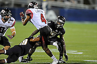 24 September 2011:  FIU safety Jonathan Cyprien (7) pursues ULL wide receiver Javone Lawson (4) in the third quarter as the University of Louisiana-Lafayette Ragin Cajuns defeated the FIU Golden Panthers, 36-31, at FIU Stadium in Miami, Florida.