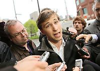 CLASSE spokesperson Gabriel Nadeau Dubois speaks to medias before meeting with Quebec government in Quebec City Tuesday May 15, 2012.<br /> <br /> PHOTO :  Francis Vachon - Agence Quebec Presse