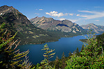 Upper Waterton Lake and glacial mountains at International Peace Park near Waterton, Canada.