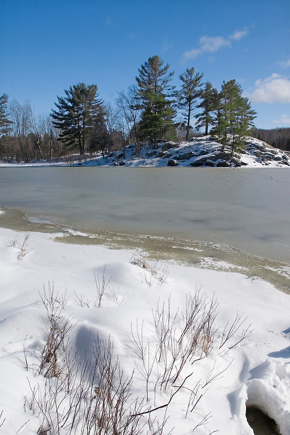 Frozen Harlow Lake in the Escanaba River State Forest near Marquette Michigan Upper Peninsula.