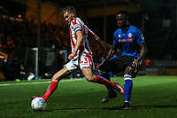 Rochdale's Jordan Slew and Stoke City's u23 Lewis Banks<br /> <br /> Photographer Juel Miah/CameraSport<br /> <br /> EFL Checkatrade Trophy - Northern Section Group C - Rochdale v Stoke City U23s - Tuesday 3rd October 2017 - Spotland Stadium - Rochdale<br />  <br /> World Copyright &copy; 2018 CameraSport. All rights reserved. 43 Linden Ave. Countesthorpe. Leicester. England. LE8 5PG - Tel: +44 (0) 116 277 4147 - admin@camerasport.com - www.camerasport.com