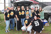 Piscataway, NJ, May 7, 2016.  Western New York Flash fans pose for a picture in the parking lot.  The Western New York Flash defeated Sky Blue FC, 2-1, in a National Women's Soccer League (NWSL) match at Yurcak Field.