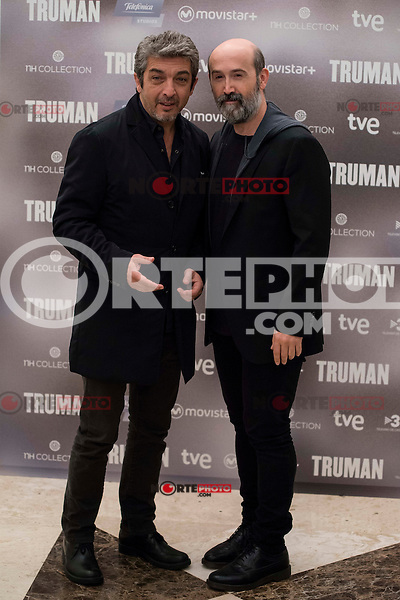 """Argentinian actor Ricardo Darin and spanish actor Javier Camara during the presentation of the film """"Truman"""" at NH Tepa´s Palace in Madrid October 26, 2015. <br /> (ALTERPHOTOS/BorjaB.Hojas) /NortePhoto"""