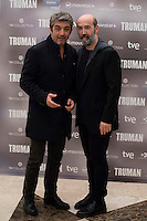 Argentinian actor Ricardo Darin and spanish actor Javier Camara during the presentation of the film &quot;Truman&quot; at NH Tepa&acute;s Palace in Madrid October 26, 2015. <br /> (ALTERPHOTOS/BorjaB.Hojas) /NortePhoto