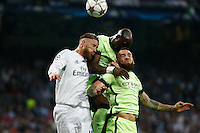 Real Madrid's Spanish defense Sergio Ramos and Manchester City´s defense  Nicolas Otamendi and Toure during the UEFA Champions League match between Real Madrid and Manchester City at the Santiago Bernabeu Stadium in Madrid, Wednesday, May 4, 2016.