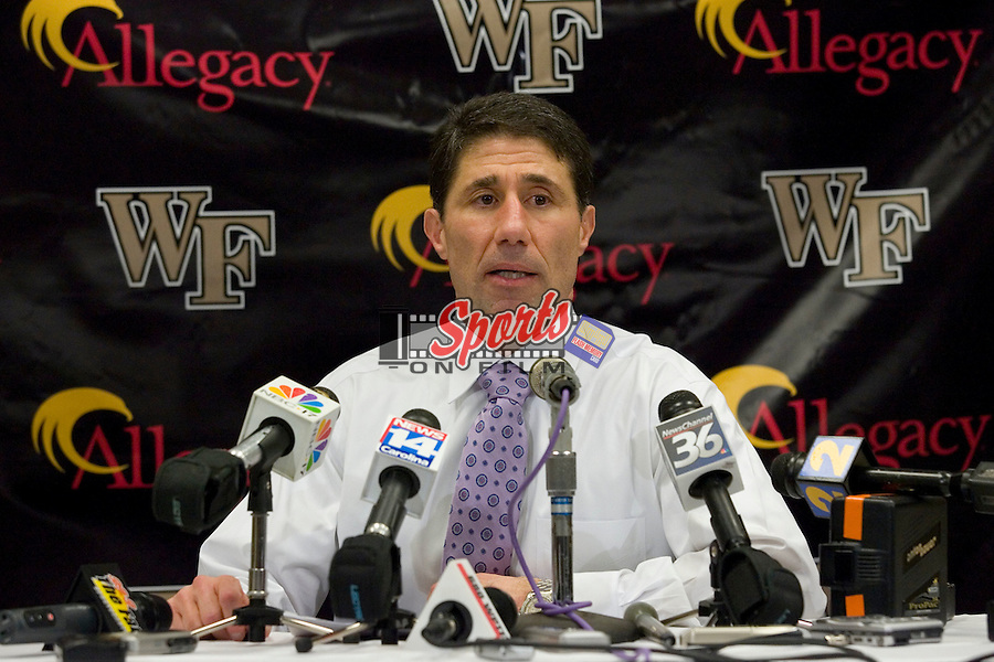 WINSTON-SALEM, NC - JANUARY 11:  Wake Forest Demon Deacons head coach Dino Gaudio answers questions from the media following their 92-89 win over the North Carolina Tar Heels at the LJVM Coliseum on January 11, 2009 in Winston-Salem, North Carolina.  (Photo by Brian Westerholt / Sports On Film)