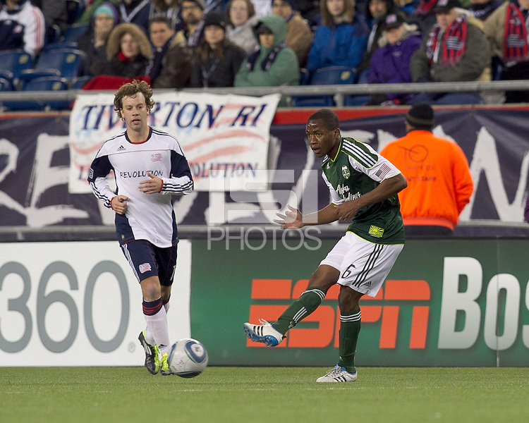 Portland Timbers forward Darlington Nagbe (6) passes the ball. In a Major League Soccer (MLS) match, the New England Revolution tied the Portland Timbers, 1-1, at Gillette Stadium on April 2, 2011.