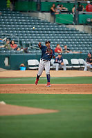 Domingo Leyba (26) of the Reno Aces during the game against the Salt Lake Bees at Smith's Ballpark on June 27, 2019 in Salt Lake City, Utah. The Aces defeated the Bees 10-6. (Stephen Smith/Four Seam Images)