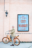 Pops Peterson shows off his skills on a Electric bike in downtown Wilmington, NC.