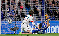 Goal scorer Adrien Rabiot of Paris Saint-Germain beats Cesar Azpilicueta of Chelsea and watches the ball hit the net during the UEFA Champions League Round of 16 2nd leg match between Chelsea and PSG at Stamford Bridge, London, England on 9 March 2016. Photo by Andy Rowland.