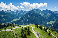 Austria, Vorarlberg, Kleinwalsertal, Mittelberg: view from Walmendingerhorn upper station into the Allgaeu Alps | Oesterreich, Vorarlberg, Kleinwalsertal, Mittelberg: Blick von der Aussichtsterrasse der Bergstation Walmendingerhorn in die Allgaeuer Alpen