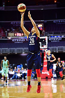 Washington, DC - June 15, 2018: Washington Mystics guard Kristi Toliver (20) hits a three pointer during game between the Washington Mystics and New York Liberty at the Capital One Arena in Washington, DC. (Photo by Phil Peters/Media Images International)