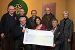 Seamus Langan, Martin Reilly, Brian Harvey, Gerry Hoey, Anna Morgan, Noel Clinton and Pat Morgan from The North East Vintage Car Club present a cheque EUR22,679 to Lisa O'Shea from Goal for the Pakistan Urgent Flood Appeal...(Photo credit should read Jenny Matthews www.newsfile.ie)....This Picture has been sent you under the conditions enclosed by:.Newsfile Ltd..The Studio,.Millmount Abbey,.Drogheda,.Co Meath..Ireland..Tel: +353(0)41-9871240.Fax: +353(0)41-9871260.GSM: +353(0)86-2500958.email: pictures@newsfile.ie.www.newsfile.ie.