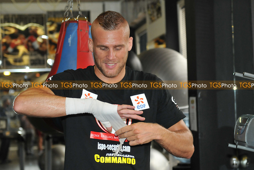 Christopher Rebrasse performs a workout for the media at Stonebridge Boxing Club, Willesden,  ahead of his fight with George Groves at Wembley Arena - 16/09/14 - MANDATORY CREDIT: Philip Sharkey/TGSPHOTO - Self billing applies where appropriate - contact@tgsphoto.co.uk - NO UNPAID USE