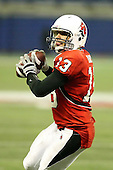 January 5th, 2008:  Ball State quarterback Nate Davis (13) prepares to throw a touchdown pass to Darius Hill during the fourth quarter of the International Bowl at the Rogers Centre in Toronto, Ontario Canada...Rutgers defeated Ball State 52-30.  ..Photo By:  Mike Janes Photography