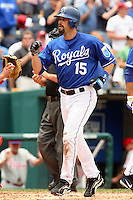 Second baseman Mark Grudzielanek crosses home plate with a two run home run during the third inning against the Philadelphia Phillies at Kauffman Stadium in Kansas City, Missouri on June 10, 2007.  The Royals won 17-5.