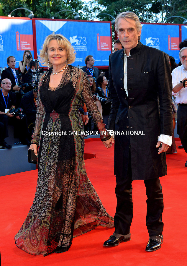 31.08.2016; Venice, Italy: JEREMY IRONS AND SINEAD CUSACK<br /> atttends &ldquo;La La Land&rdquo; screening at the 73rd Venice Film Festival.<br /> Mandatory Credit Photo: &copy;NEWSPIX INTERNATIONAL<br /> <br /> PHOTO CREDIT MANDATORY!!: NEWSPIX INTERNATIONAL(Failure to credit will incur a surcharge of 100% of reproduction fees)<br /> <br /> IMMEDIATE CONFIRMATION OF USAGE REQUIRED:<br /> Newspix International, 31 Chinnery Hill, Bishop's Stortford, ENGLAND CM23 3PS<br /> Tel:+441279 324672  ; Fax: +441279656877<br /> Mobile:  0777568 1153<br /> e-mail: info@newspixinternational.co.uk<br /> Please refer to usage terms. All Fees Payable To Newspix International