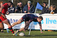 Jason Harries of London Scottish scores a try during the Greene King IPA Championship match between London Scottish Football Club and Jersey at Richmond Athletic Ground, Richmond, United Kingdom on 18 February 2017. Photo by David Horn / PRiME Media Images.