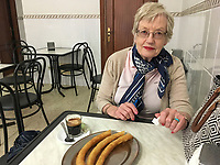 Hazel Patterson, expresso & churros, Estepona, Malaga, Spain, March, 2019, 201903082916<br /><br />Copyright Image from Victor Patterson, 54 Dorchester Park, <br />Belfast, UK, BT9 6RJ<br /><br />t1: +44 28 9066 1296 (from Rep of Ireland 048 9066 1296)<br />m: +44 7802 353836<br />e: victorpattersonbelfast@gmail.com<br />w: www,victorpatterson.com<br /><br />Please see my Terms and Conditions of Use at https://www.victorpatterson.com/page2<br />It is IMPORTANT that you familiarise yourself with them.<br /><br />Images used on the Internet incur an additional cost and must be visibly watermarked i.e. © Victor Patterson within the body of the image and copyright metadata must not be deleted. Images used on the Internet have a size restriction of 4kbs and are chargeable at rates available at victorpatterson.com.<br /><br />This image is only available for the use of the download recipient i.e. television station, newspaper, magazine, book publisher, etc, and must not be passed on to any third party. It is also downloaded on condition that each and every usage is notified within 7 days to victorpattersonbelfast@gmail.com.<br /><br />The right of Victor Patterson to be identified as the author is asserted in accordance with The Copyright Designs And Patents Act (1988). All moral rights are asserted.
