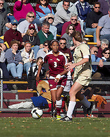 Florida State midfielder Casey Short (3) brings the ball forward as Boston College defender Alyssa Pember (6) closes. Florida State University defeated Boston College, 1-0, at Newton Soccer Field, Newton, MA on October 31, 2010.