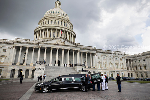 Joint service members of a military casket team prepare to carry the casket of Senator John McCain into the US Capitol, where he will lie in state for the rest of the day in Washington, DC, USA, 31 August 2018. McCain died 25 August, 2018 from brain cancer at his ranch in Sedona, Arizona, USA. He was a veteran of the Vietnam War, served two terms in the US House of Representatives, and was elected to five terms in the US Senate. McCain also ran for president twice, and was the Republican nominee in 2008.