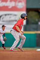 Pawtucket Red Sox Jantzen Witte (35) leads off during an International League game against the Rochester Red Wings on June 28, 2019 at Frontier Field in Rochester, New York.  Pawtucket defeated Rochester 8-5.  (Mike Janes/Four Seam Images)