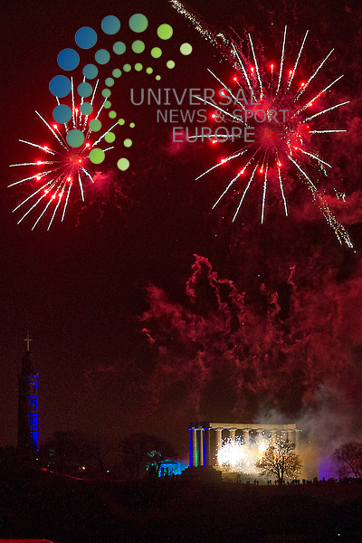 Fireworks display on Calton Hill marking the start of the Hogmanay Festivities, Edinburgh, Scotland, 30th December, 2012..Picture:Scott Taylor Universal News And Sport (Europe) .All pictures must be credited to www.universalnewsandsport.com. (Office)0844 884 51 22.