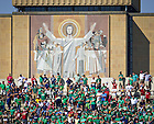 Sept. 28, 2013; Touchdown Jesus looks over the top of Notre Dame Stadium during the Oklahoma game.<br /> <br /> Photo by Matt Cashore/University of Notre Dame