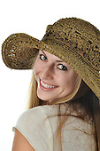 Stock Photo Young Woman and Straw Hat