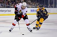 Tuesday, March 21, 2017: Ottawa Senators left wing Mike Hoffman (68) and Boston Bruins center David Krejci (46) in action during the National Hockey League game between the Ottawa Senators and the Boston Bruins held at TD Garden, in Boston, Mass. Ottawa defeats Boston 3-2 in regulation time. Eric Canha/CSM