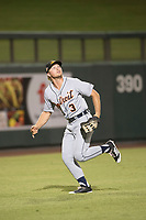 Mesa Solar Sox left fielder Cam Gibson (3), of the Detroit Tigers organization, pursues a fly ball during a game against the Salt River Rafters on October 17, 2017 at Salt River Fields at Talking Stick in Scottsdale, Arizona. The Solar Sox defeated the Rafters 8-5. (Zachary Lucy/Four Seam Images)
